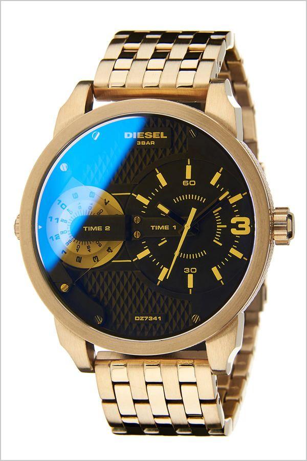 [ 誕生日 ][ プレゼント ギフト ][ 送料無料 ]。ディーゼル 腕時計 [ DIESEL 時計 ] ミニダディー [ Mini Daddy ] メンズ ブラック DZ7341 [ ブランド 防水 ファッション メタル ベルト 偏光ガラス ゴールド ビックフェイス ]