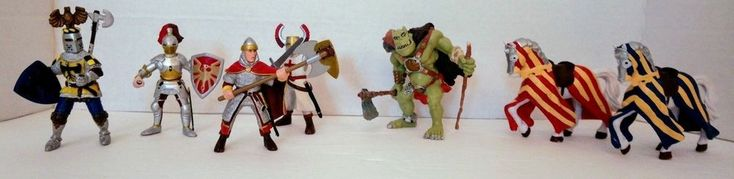 Lot of 8 Papo Fantasy Figures Knights Ogre Horses 1999 2000 2002 #Papo