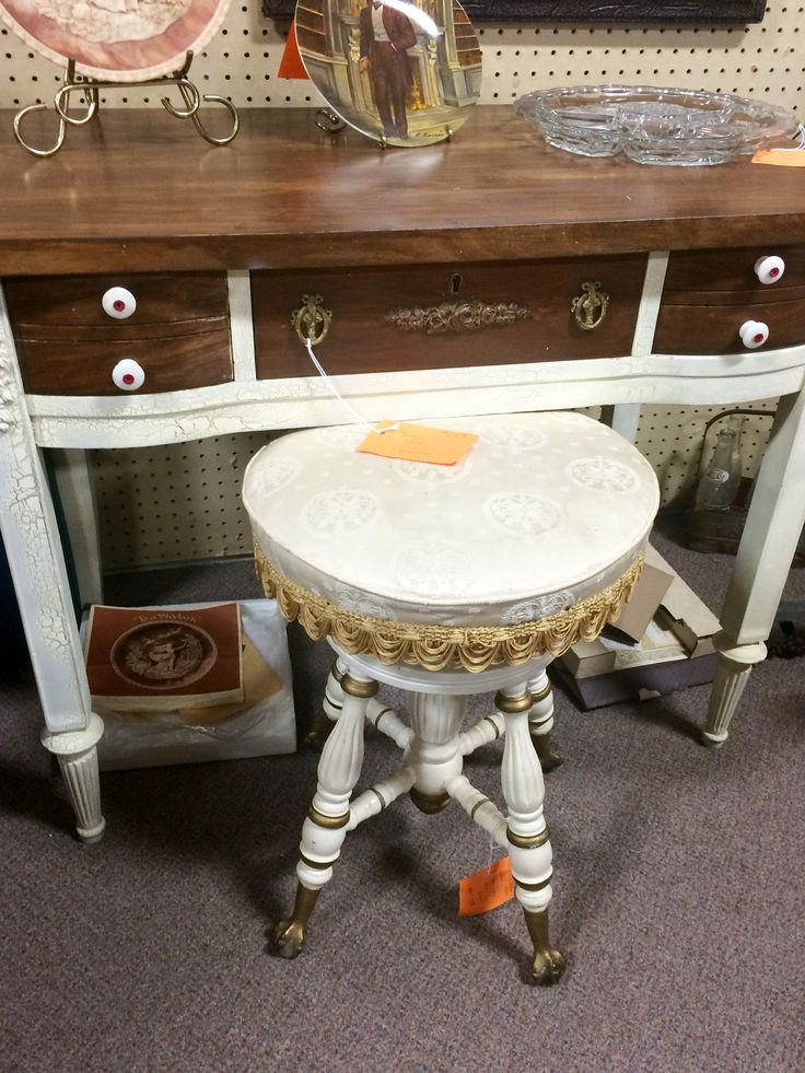 "We have a cute vintage desk or vanity, $79, 29""tall x36"", and an antique organ/piano stool, $110, 20"" tall and adjustable. Both from dealer 611 at Jesse James Antique Mall.   Huge building packed full of treasure-hunting possibilities! Retro, vintage and re-purposed furniture, antique collectibles, decor, jewelry and fun stuff! New finds being brought in daily from our 150 vendors! Spend a few hours browsing!Open daily, 9-6. I-29 & 71 Hwy,  St Joseph, MO. Call with any questions!"