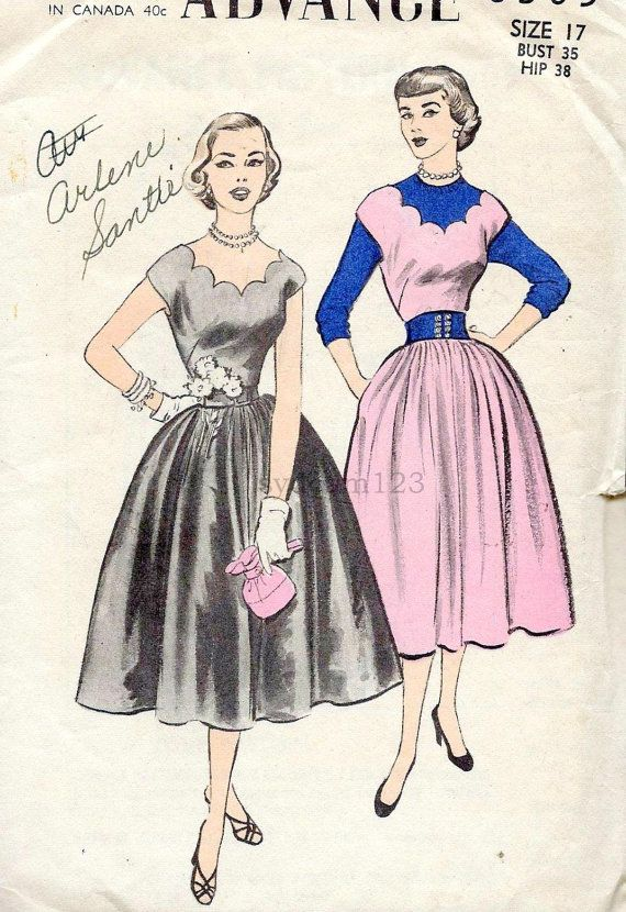 Vintage 1953 Scalloped Neck and Back Dress and Jumper...Full Gathered Skirt...Advance 6305 Bust 35 UNCUT: Vintage 1950S, 1950S Dresses, V Patterns, 1950S Patterns, Vintage Patterns, Patterns Scallops, 1950S Fashion, Sewing Patterns