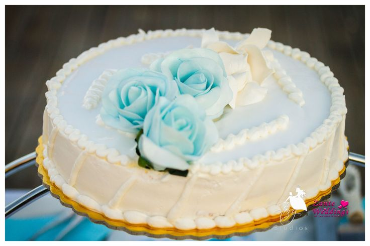Blue themed wedding topper
