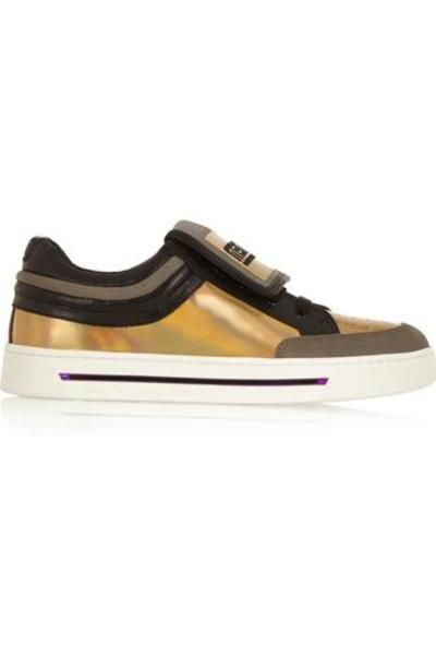 Cute Kicks suede and holographic leather sneakers #sneakers #offduty #covetme #marcbymarcjacobs