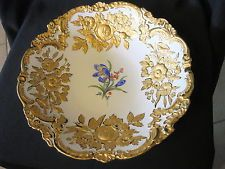 """Lindo Vintage de 12 """"grande tigela de servir por Meissen Com Alto Relevo Ouro"""