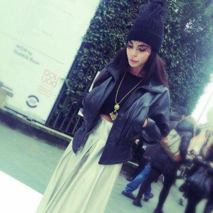 Natanè with Giulia Nati, fashion blogger – White Trade Show, Milan Italy – Planet Rhombus necklace, black color. #necklace #collane #colors #black #nero #woman #fashion #style #outfit #swarovski #jewel #bijoux #blogger #ametista #girl #natanè