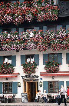Oberammergau, Germany - The wonderful window boxes that dress Bavaria.