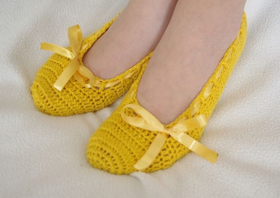 Dance shoes slippers Yellow Bridal by yagmurshop, $25.00