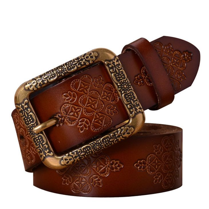 2015 Vintage натуральная кожа пояса для женщин коровьей резные ремешок женский металлической пряжкой vintage джинсы женские пояса хорошее качество купить на AliExpress