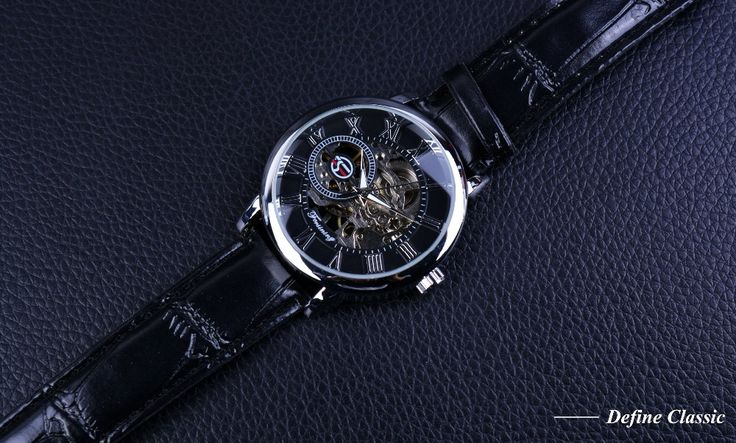 Forsining 3D Literal Design Roman Number Black Dial Skeleton Luxury Watch For Men - Online Shopping for Watches