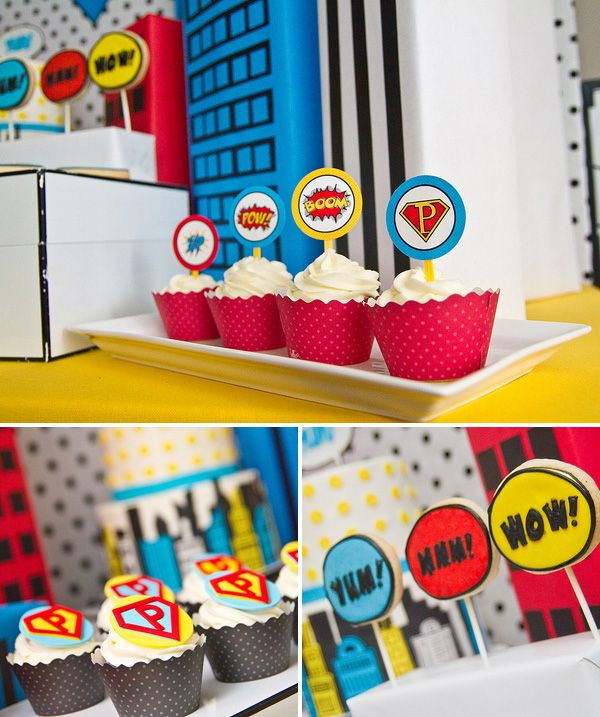 Super hero party cupcakes