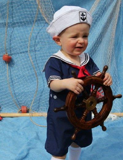 Petit Ami Baby/Infant Boy Sailor Romper - NAVY