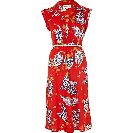 red floral print chelsea girl midi dress - day dresses - dresses - women - River Island