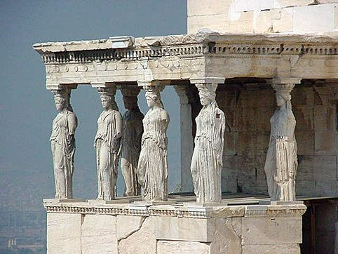 The Porch of Maidens is an example of classical Greek architecture. It was constructed between 421 BCE and 405 BCE. This architecture is a part of an ancient Greek temple, Erechtheion, which is located on the north side of the Acropolis of Athens in Greece. These caryatids act as supporting columns.