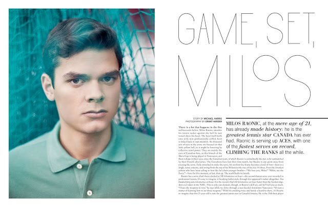 The Blog of Vancouver Photographer - Grant Harder - portrait, travel and life: Milos Raonic for NUVO