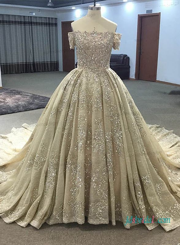 Gold Champagne Colored Cinderalla Ball Gown Wedding Dress Ball Gowns Wedding Empire Wedding Dress Wedding Dresses 2017