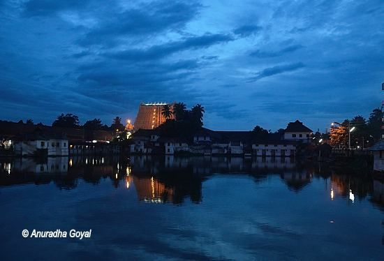 Landscape view of Padmanabhaswamy Temple and the tank at dusk