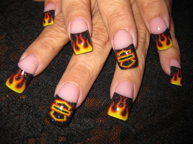 harley flame nails by Oli123 - Nail Art Gallery nailartgallery.nailsmag.com by Nails Magazine www.nailsmag.com #nailart