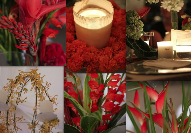 Red Ginger, coral ginger, birds of paradise, spider orchids and marigolds... just some of the great options for the florals of this theme.