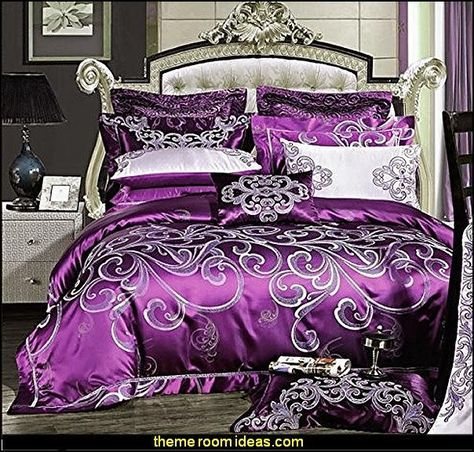 Luxury European Western Style Bedding Sets,Purple Queen Comforter Set,Purple Bedding Set,Purple Duvet Cover Set