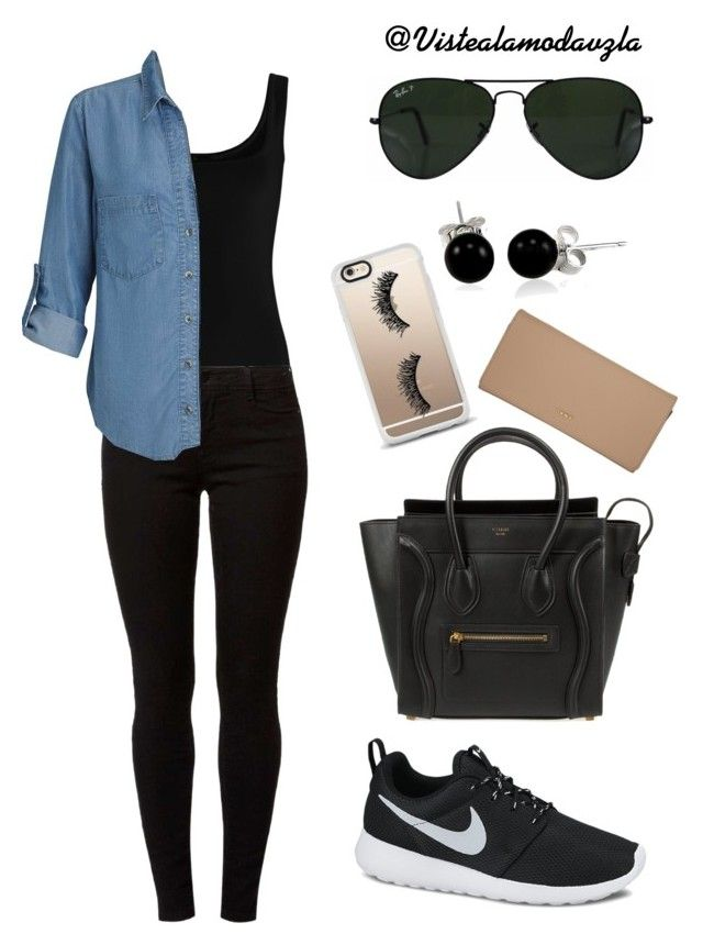 """!"" by zulakais on Polyvore featuring moda, Twenty, Dorothy Perkins, Miss Selfridge, NIKE, CÉLINE, Ray-Ban, Bling Jewelry, Casetify y DKNY"