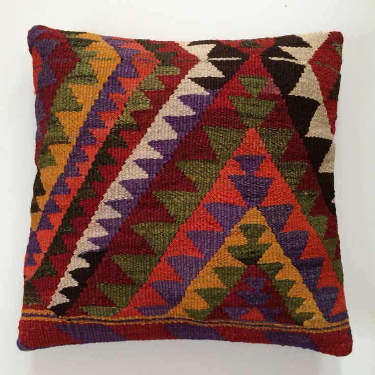 Turkish kilim cushion. Vintage and unique.