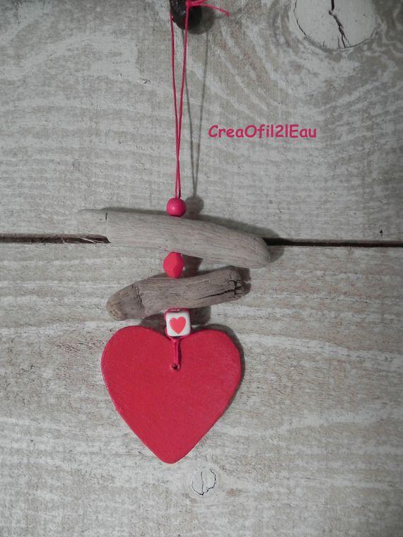 Suspension bois flotté perles et coeur Rouge N°2