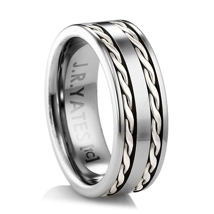 Matching Wedding Band? Inspired from the old West.  A substantial tungsten ring with twisted silver wire inlay.