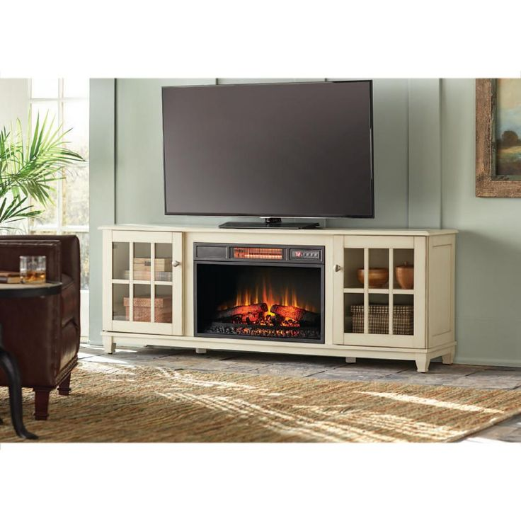 Westcliff 66 in. Lowboy Media Console Electric Fireplace in Bleached Linen