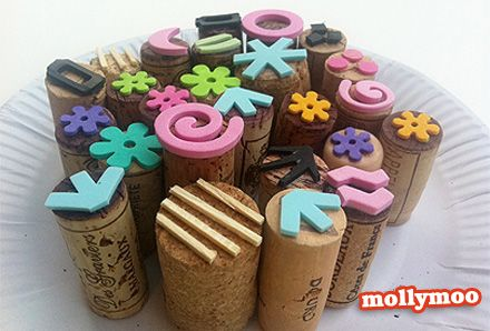 Make Cheep Bible Stamps for your Sunday School Class using Christian symbols foam shapes. You can buy corks if you don't have them.