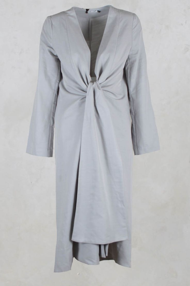 Long Jacket with Tie in Cotton Grey - Les Filles D'ailleurs