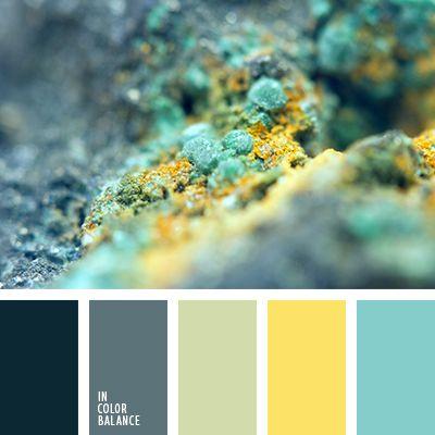 голубой, желтый и бирюзовый, оттенки синего, подбор цвета, салатовый, салатовый и желтый, серо-синий, серо-синий и желтый, синий, цвет натурального камня, цветовое решение, яркий бирюзовый, яркий желтый.