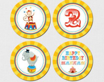 Carnival Cupcake Toppers for Carnival Birthday Party.  by Popobell