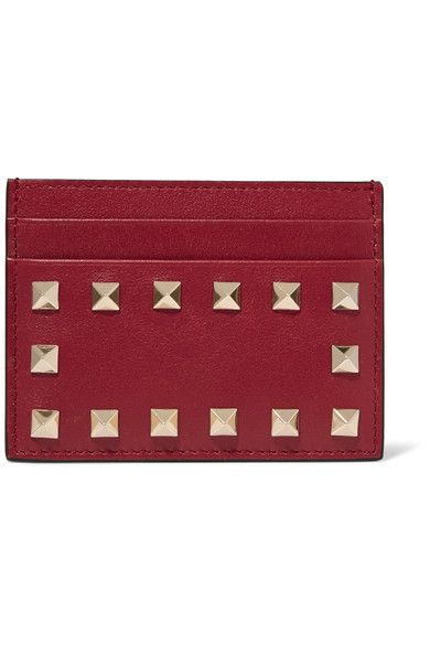 Valentino - The Rockstud Leather Cardholder - Red - one size