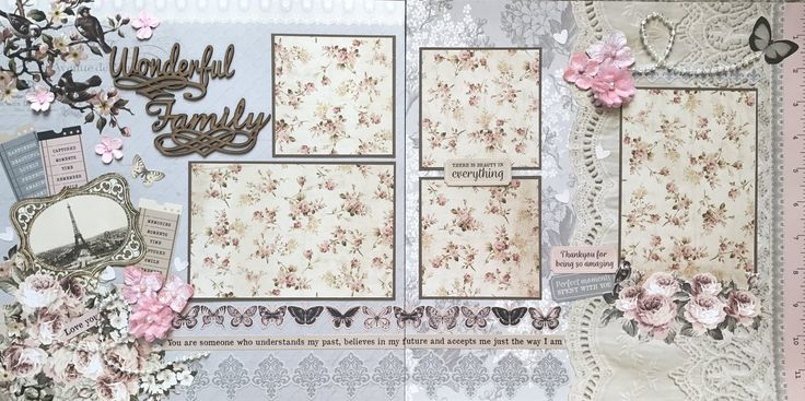 SCRAPPY HAPPY DESIGNS Premade Scrapbook Pages and Page Kits. This layout was made using the Kaisercraft Romantique collection and it works perfectly for any family photos.