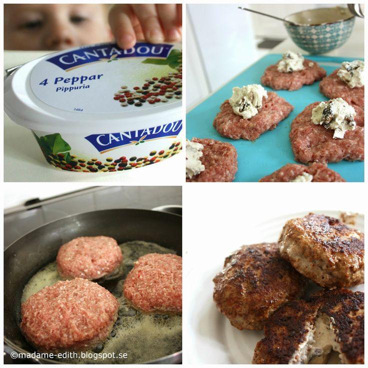 Köttfärsbiffar med färskost - Detta var ett litet test som blev såååå lyckat!!   Smaskigt, smaskigt, smaskigt.. (10 st)   Recept   800 g...