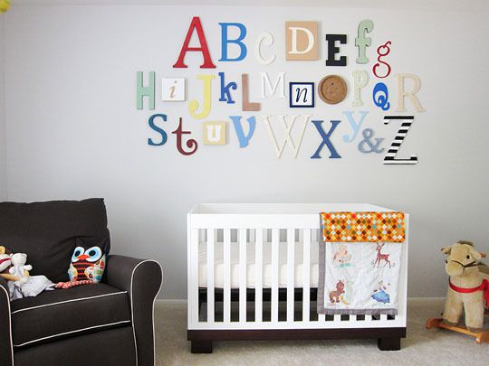 isn't this a fantastic way to display letters?  so much better than the (in my opinion very over-used) block arrangement of a name.  would be really cute in an elementary classroom too!
