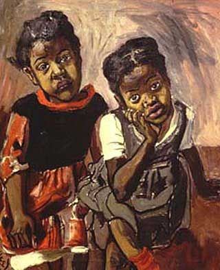 """""""Two Girls in Spanish Harlem,"""" Alice Neel. Such a boss with oil paints."""