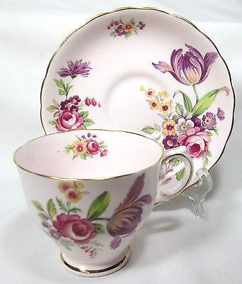 "BEAUTIFUL VINTAGE TUSCAN BONE CHINA CUP & SAUCER PINK ""MONTROSE"""