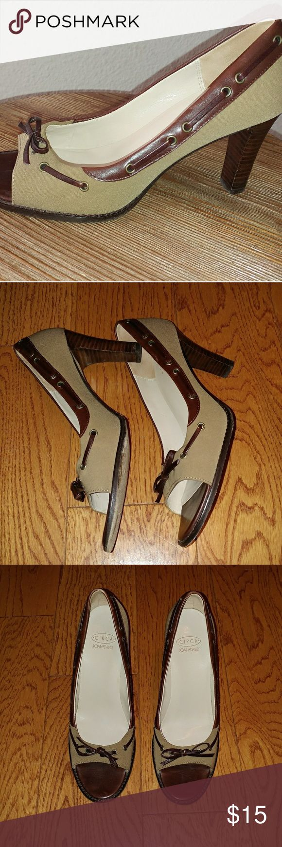 Circa Joan & David heels Open toed canvas and leather pumps. Size 7. Joan & David Shoes Heels
