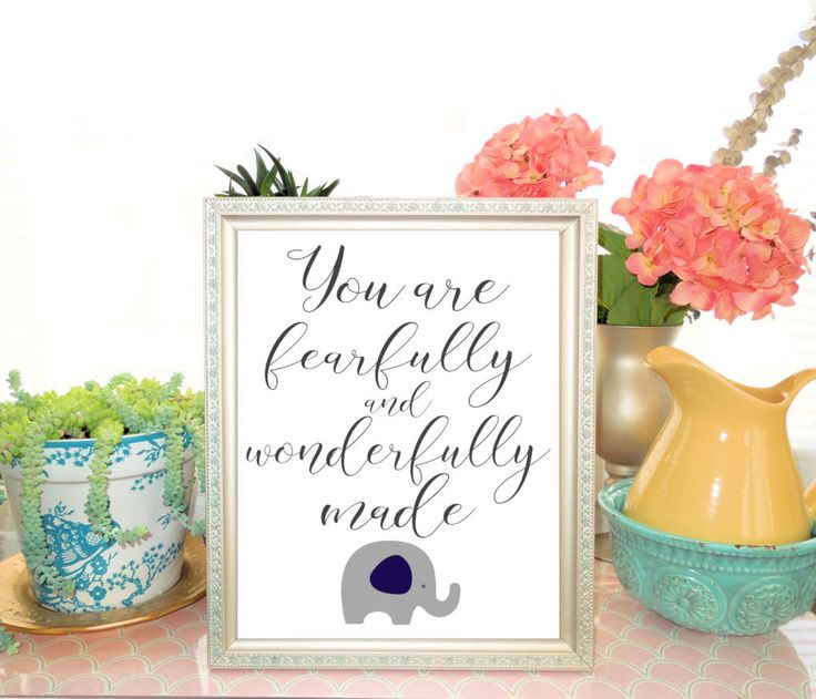 Printable Bible Quotes for Baby, Elephant Nursery Art Print, You are fearfully and wonderfully made, Navy Gray Elephant Nursery Decor by LilysNurseryShop on Etsy