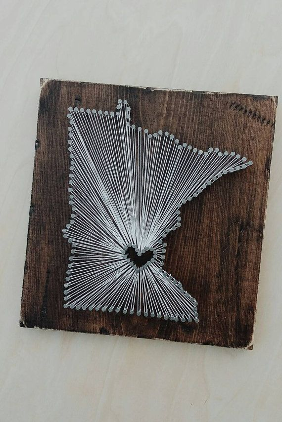 Show off your Minnesota love with this rustic string art sign. Heart goes where your heart is...hometown, birthplace, study abroad location,