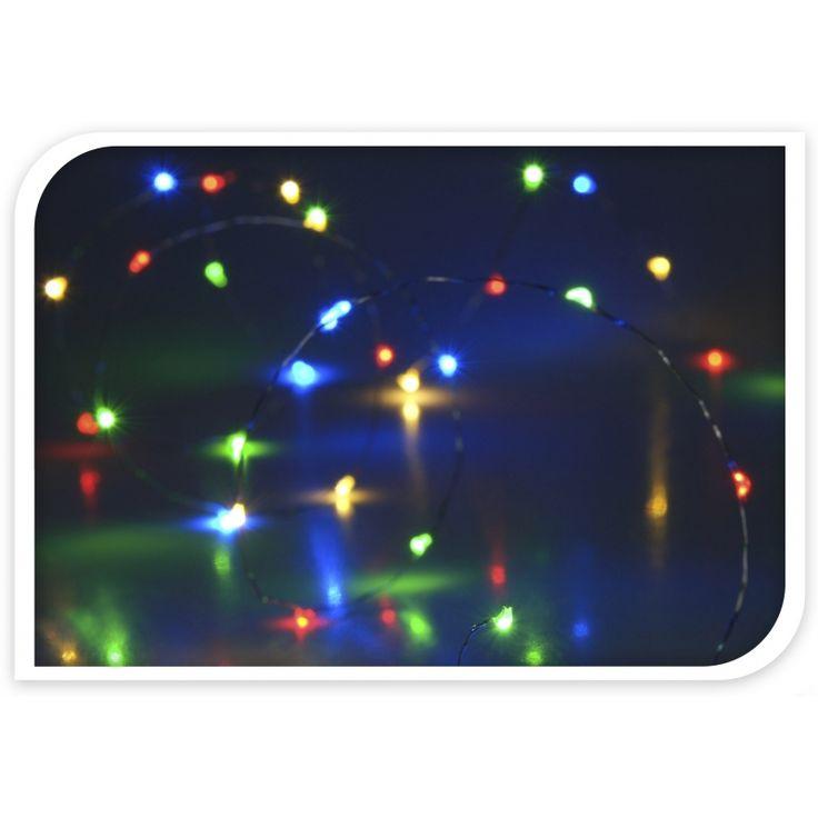 LED lampjes gekleurd op batterij 40 stuks. Draadverlichting met 40 gekleurde LED lampjes. Werkt op 3 AA batterijen (niet meegeleverd). Geschikt voor gebruik binnenshuis. Totale lengte: ongeveer 205 cm. Afmeting met verlichting: ongeveer 195 cm. Afstand van batterij naar 1ste lampje: ongeveer 20 cm.