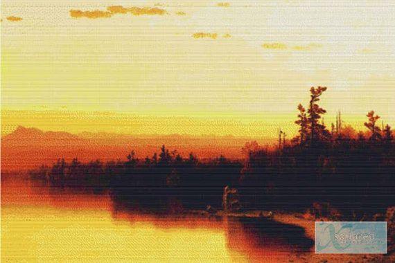A Twilight in the Adirondacks PDF Cross by XSquaredCrossStitch