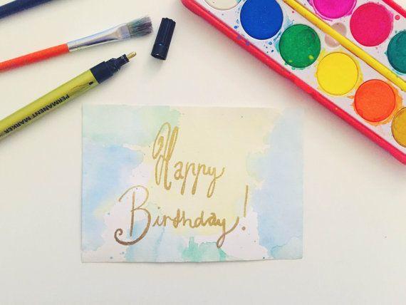 Handmade Watercolor Happy Birthday Green/Blue Gold by Colortastico