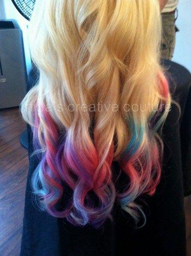 "Blonde Ombre, Tie Dye Hair, Bohemian Hair, Pink, Purple, Green, Festival Hair, Blonde Hair Extensions, 7 Pieces 16""//Cus"