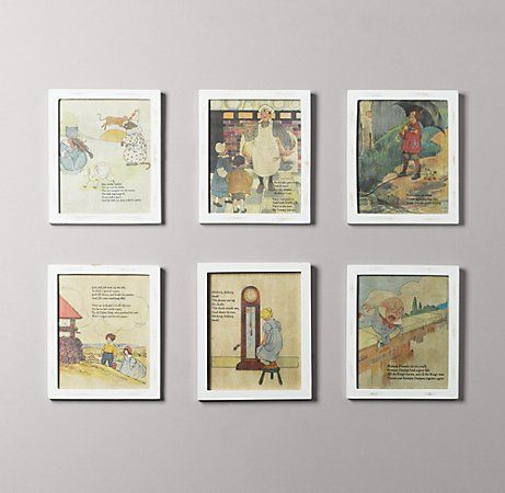 great idea of a nursery. Just frame pages from a vintage nursery rhyme book.
