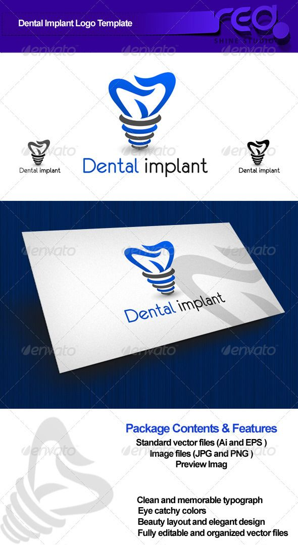 Dental Implant Logo #GraphicRiver Dental Logo template can be used for dental services web page, dentistry identity, or printing products. 100% vector, Easy to edit color / text fully resizable and easily editable, everything comes with a colored, grayscale and white color schemes fully optimised for small and big sizes. Graphics Files Included: 1- logo.eps 2- logo.ai 3- psd layer 4- logo png • Clean and fresh design • Ready to print • Beauty layout and elegant design • Preview PNG • PSD…