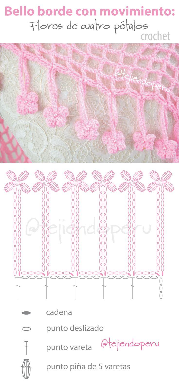 Bello borde con movimiento tejido a crochet: flores de 4 pétalos!