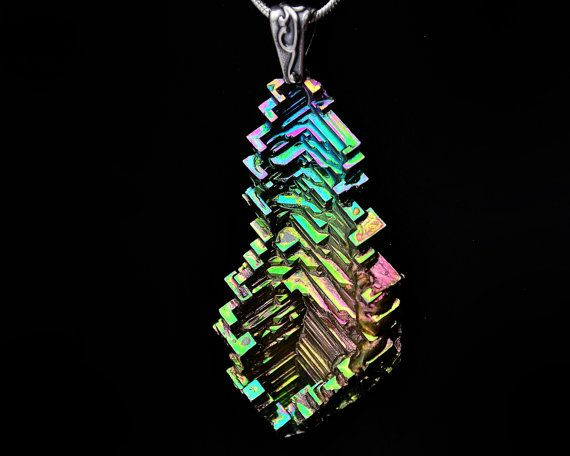 Fractal Fir, Iridescent Bismuth Crystal and Sterling Silver Pendant and Silver Plated Chain or Leather Necklace, Fractal, Jewelry