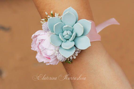 Wedding Corsage, succulent corsage wrist, wedding accessories bridesmaids pink wedding bouquet clay flowers bracelets prom peony echeveria