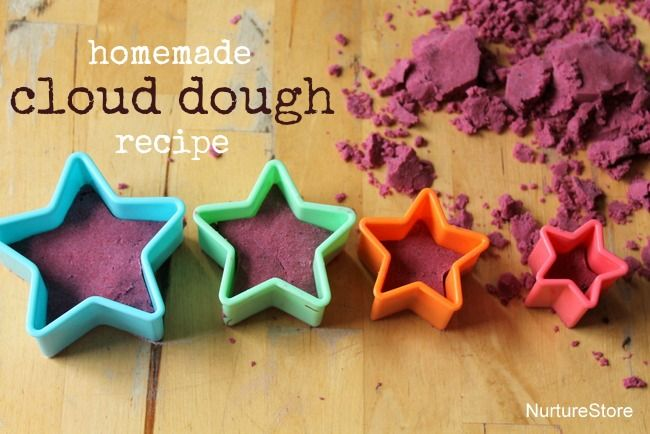 Great homemade cloud dough recipe (moon sand, kinetic  sand) - great for kids sensory play activities